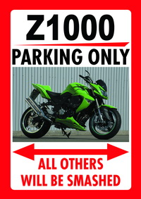 Z1000 PARKING ONLY sign