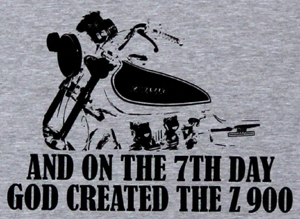 "Z900.us t-shirt print ash grey ""AND ON THE 7TH DAY GOD CREATED THE Z 900"""